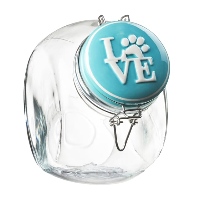 Amici Home Love Space Saver Turquoise Hermetic Preserving Canister for Pets, Large - Carousel image #1