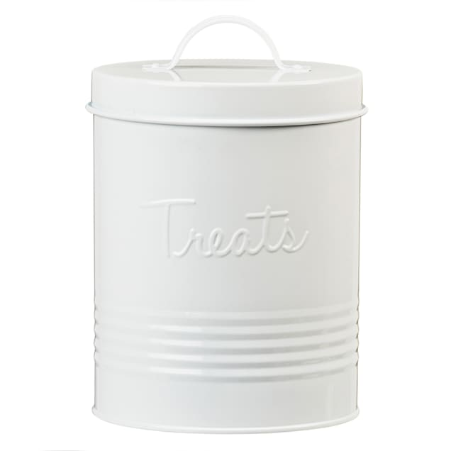 Amici Home Retro Treats White Canister for Pets - Carousel image #1