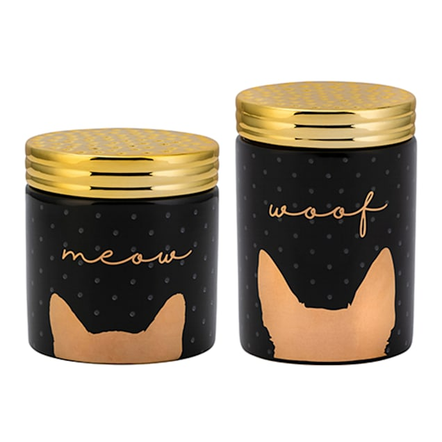 Amici Home Woof Black & Gold Ceramic Jars for Pets - Carousel image #1