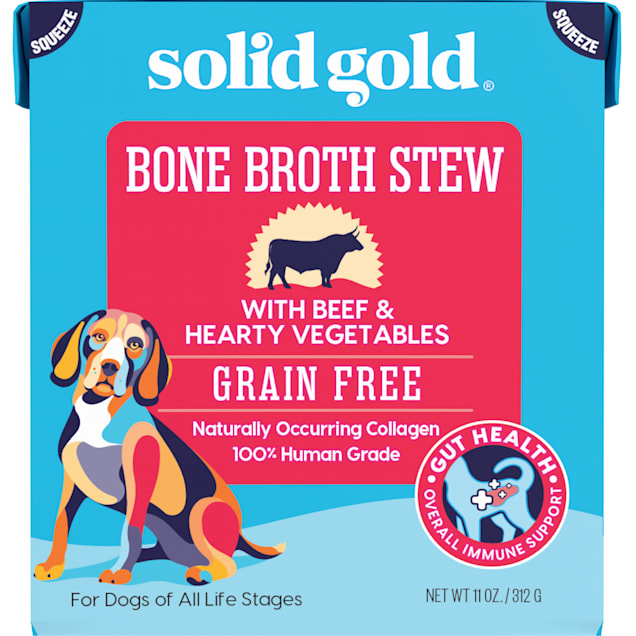 Solid Gold Bone Broth Stew with Beef & Hearty Vegetables Wet Dog Food, 11 oz. - Carousel image #1