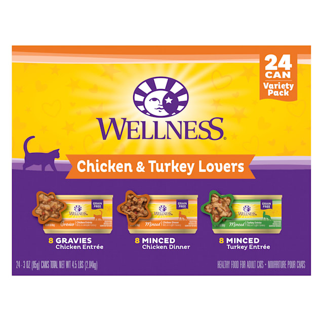 Wellness Complete Health Chicken & Turkey Gravy Variety Pack Wet Adult Cat Food, 3 oz., Count of 24 - Carousel image #1