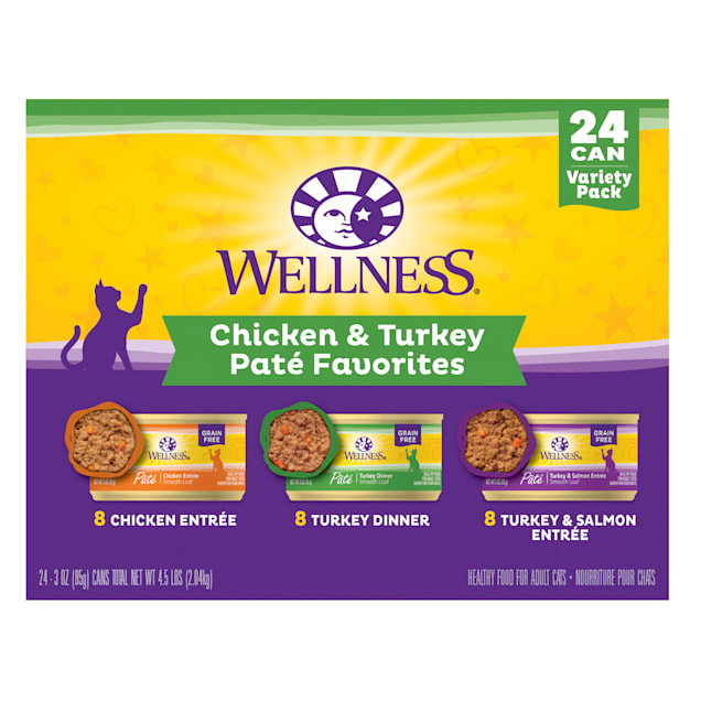 Wellness Complete Health Chicken & Turkey Pate Variety Pack Wet Adult Cat Food, 3 oz., Count of 24 - Carousel image #1