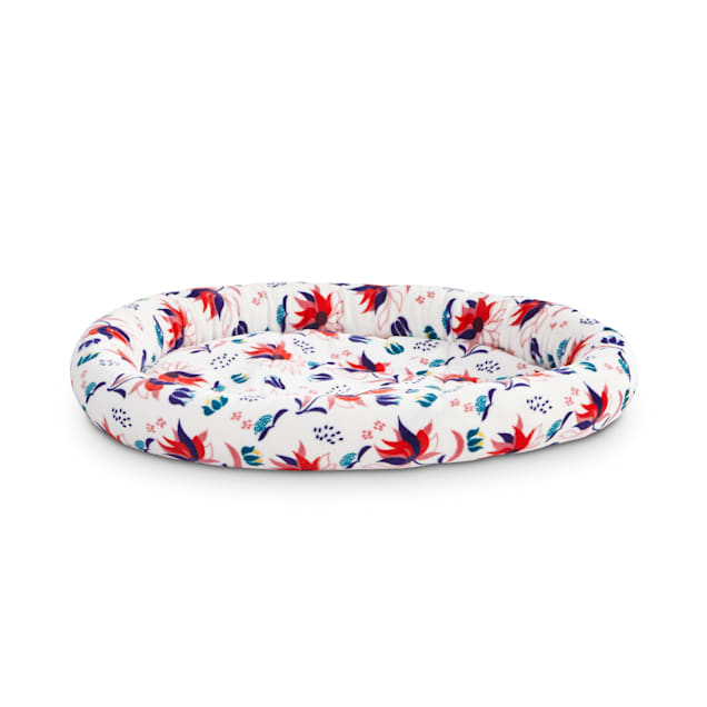 "EveryYay Snooze Fest White Floral Oval Lounger Cat Bed, 17"" L X 14"" W X 2"" H - Carousel image #1"