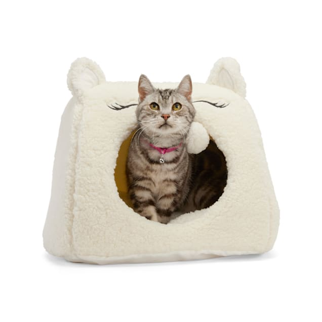 """EveryYay Snooze Fest White Solid Pyramid Pod Cave Cat Bed, 16"""" L X 15"""" W X 16"""" H - Carousel image #1"""