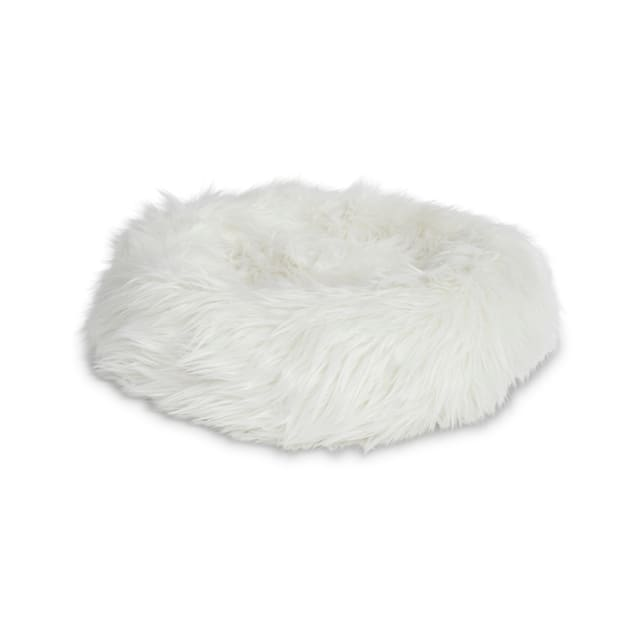 """EveryYay Snooze Fest Grey Faux Fur Donut Cat Bed, 18"""" L X 18"""" W X 5"""" H - Carousel image #1"""