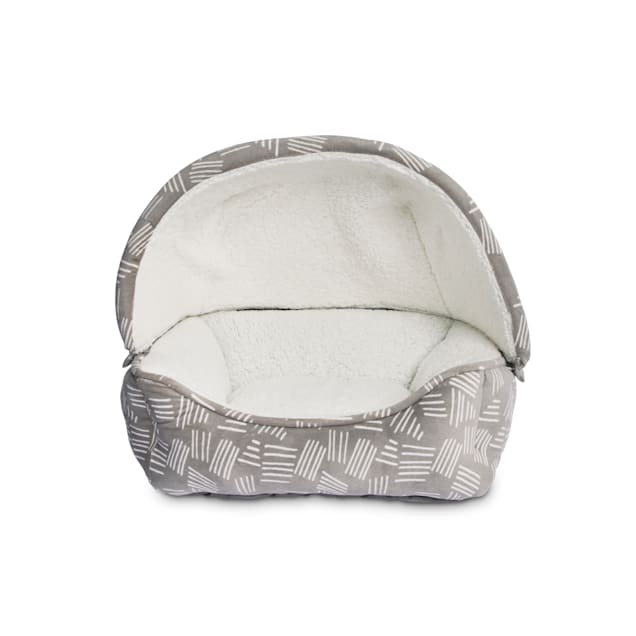 """EveryYay Snooze Fest Grey Printed Canopy Covered Cat Bed, 19"""" L X 16"""" W X 17.5"""" H - Carousel image #1"""