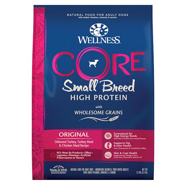 Wellness CORE Wholesome Grains Small Breed Original Turkey Recipe Dry Dog Food, 12 lbs., Bag - Carousel image #1