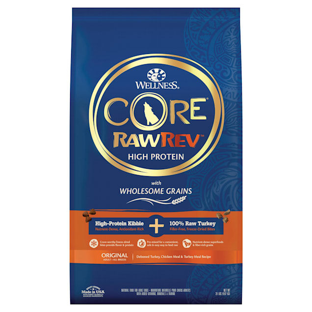 Wellness CORE RawRev Wholesome Grains Original Turkey Recipe Dry Dog Food, 20 lbs., Bag - Carousel image #1
