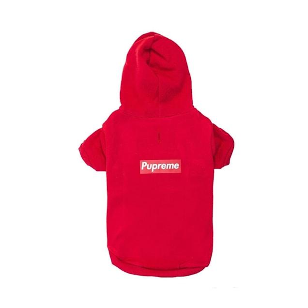 Fresh Pawz Red Pupreme Box Logo Hoodie Dog Clothing, Medium - Carousel image #1