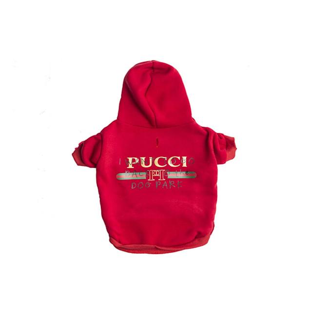 Fresh Pawz Red Pucci Dog Park Hoodie Clothing, X-Large - Carousel image #1