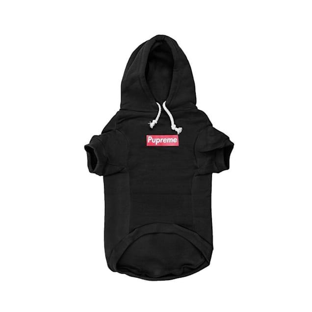 Fresh Pawz Black Pupreme Box Logo Hoodie Dog Clothing, Large - Carousel image #1