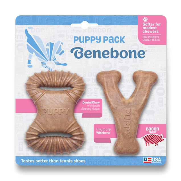 Benebone Bacon Flavor Puppy Chew Toys, X-Small, Pack of 2 - Carousel image #1
