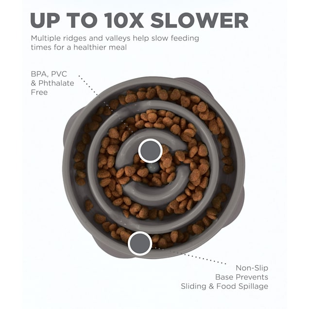 Outward Hound Fun Feeder Drop Gray Cat Bowls, 2 Cup - Carousel image #1