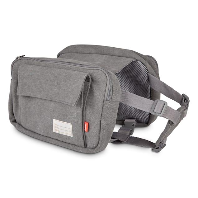 Reddy Grey Washed Canvas Dog Saddle Bag, Medium - Carousel image #1