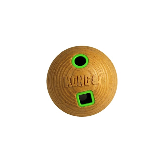 KONG Treat Dispenser Bamboo Feeder Ball Dog Toy, Medium - Carousel image #1