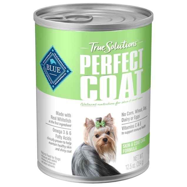 Blue Buffalo True Solutions Perfect Coat Natural Skin & Coat Care Whitefish Flavor Adult Wet Dog Food, 12.5 oz., Case of 12 - Carousel image #1
