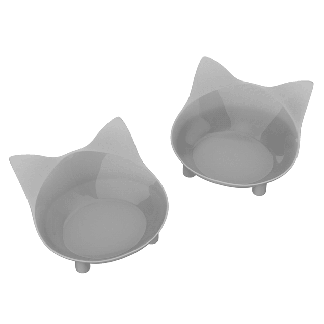 PETMAKER Gray Nonslip Rubber Bottom Cat-Shaped Bowls, 1 Cup, Set of 2 - Carousel image #1