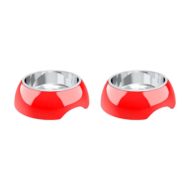 PETMAKER Red Stainless Steel Nonslip Rubber Bottom Food & Water Station for Dogs & Cats, 3 Cup - Carousel image #1