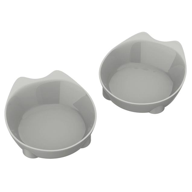 PETMAKER Gray Nonslip Rubber Bottom Cat Bowls, Set of 2 - Carousel image #1