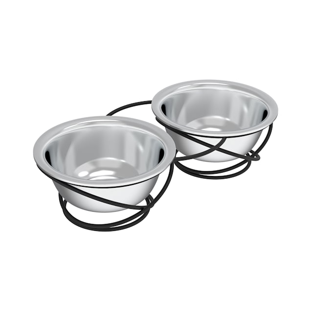 PETMAKER Gray Elevated Stainless Steel Nonslip Rubber Bottom Feeding Station for Pets, 5 Cup - Carousel image #1