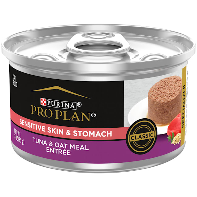 Purina Pro Plan Sensitive Skin & Stomach Tuna & Oat Meal Classic Entree Adult Wet Cat Food, 3 oz., Case of 24 - Carousel image #1