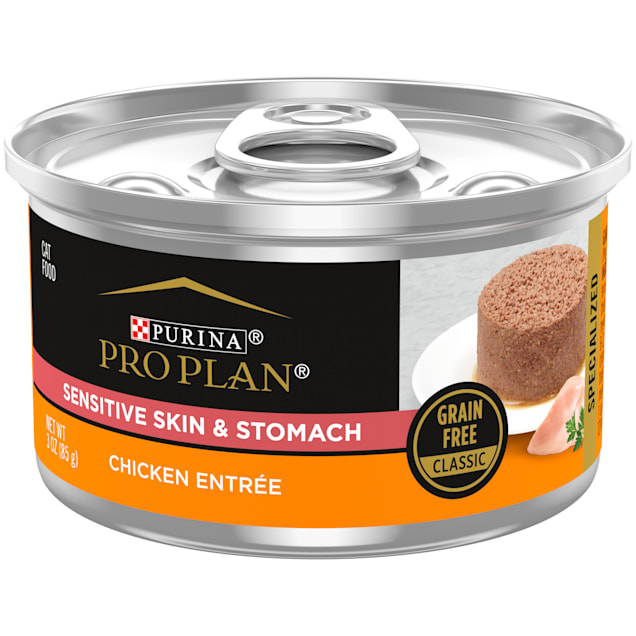 Purina Pro Plan Grain Free Classic Sensitive Skin & Stomach Chicken Entree Pate Wet Cat Food, 3 oz., Case of 24 - Carousel image #1