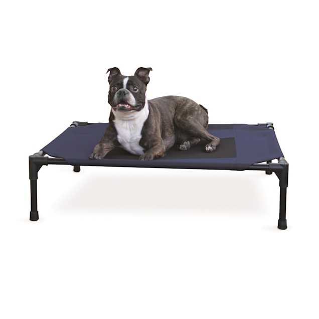 "K&H Elevated Navy Blue Pet Bed, 25"" L X 32"" W X 7"" H - Carousel image #1"