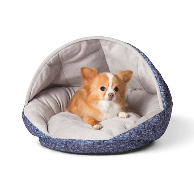 """K&H Self Warming Hooded Classy Blue Pet Bed, 21"""" L X 19"""" W - Carousel image #1"""