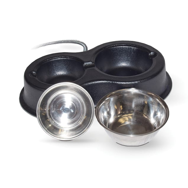 K&H Thermo-Kitty Cafe Stainless Black Cat Bowls - Carousel image #1