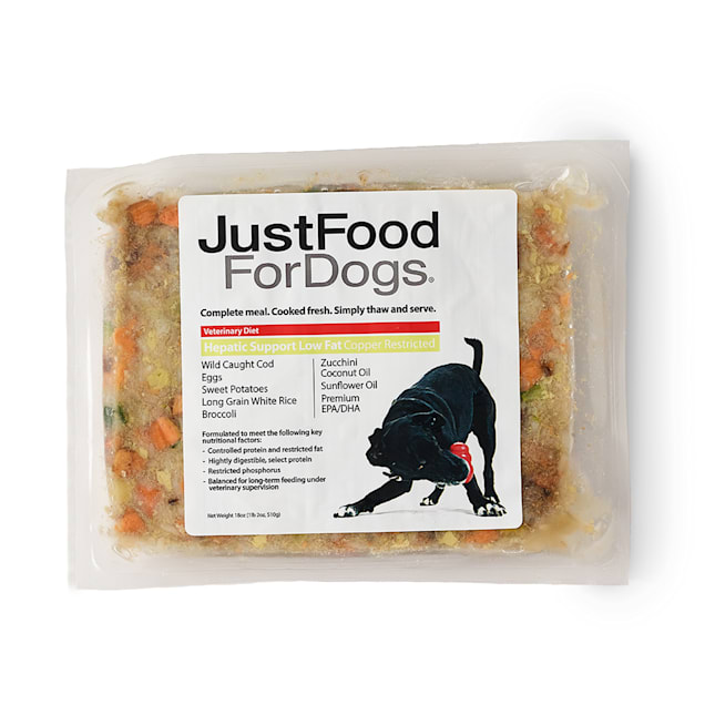 JustFoodForDogs Vet Support Diets Hepatic Support, Low Fat Frozen Dog Food, 18 oz. - Carousel image #1