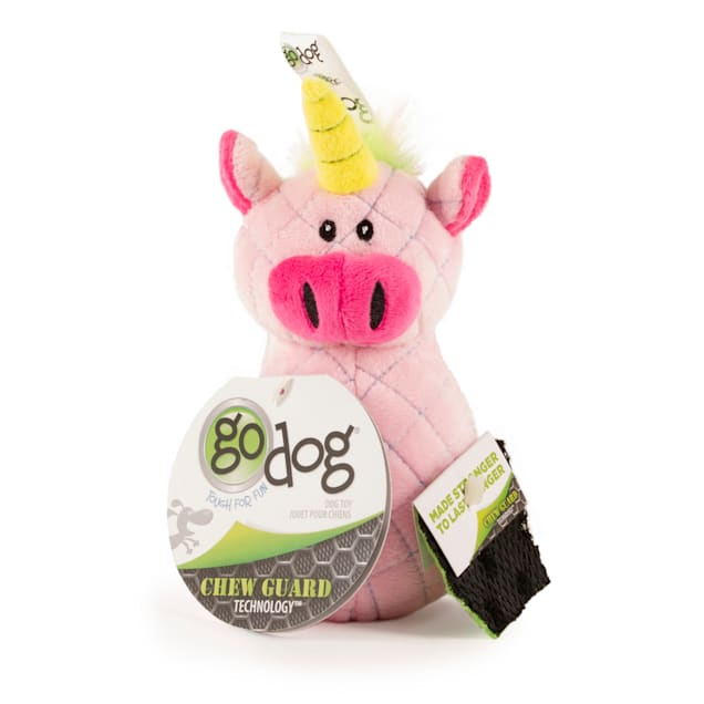 goDog Bowlers Unicorn Pink Dog Toy, Small - Carousel image #1