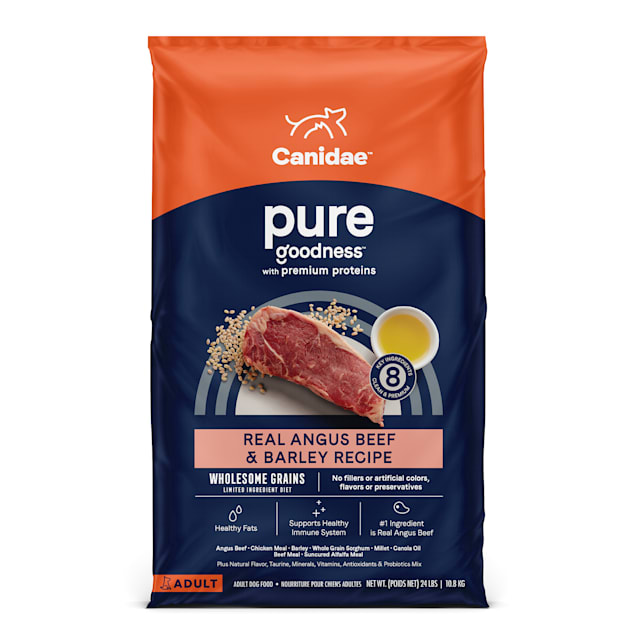 Canidae Pure Wholesome Grains Limited Ingredient Real Angus Beef and Barley Recipe Dry Dog Food, 24 lbs. - Carousel image #1