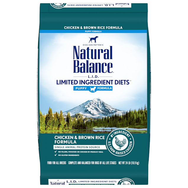 Natural Balance L.I.D. Limited Ingredient Diets Chicken & Brown Rice Formula Dry Puppy Food, 24 lbs. - Carousel image #1
