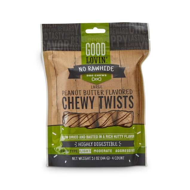 Good Lovin' Peanut Butter-Flavored Chewy Twists No-Rawhide Dog Chews, Count of 4 - Carousel image #1