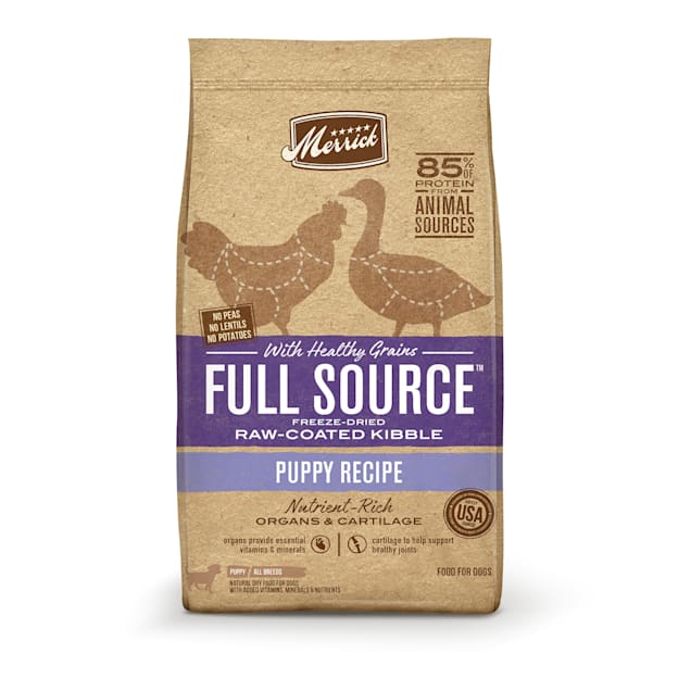 Merrick Full Source Raw-Coated Kibble Puppy Chicken Recipe with Healthy Grains Dry Dog Food, 20 lbs. - Carousel image #1