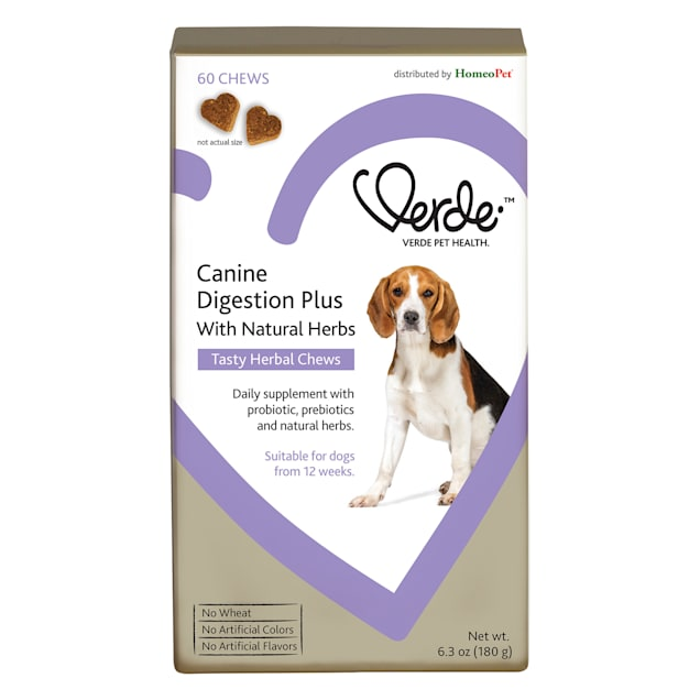 HomeoPet Verde Canine Digestion Plus with Natural Herbs Tasty Herbal Chews for Dogs, 0.39 lbs. - Carousel image #1