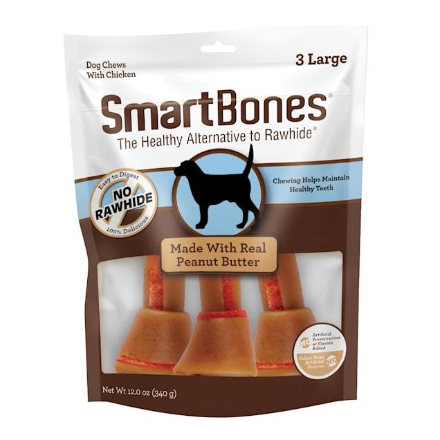 SmartBones Large Bones Chicken & Peanut Butter No-Rawhide Dog Chews, 12 oz., Count of 3 - Carousel image #1