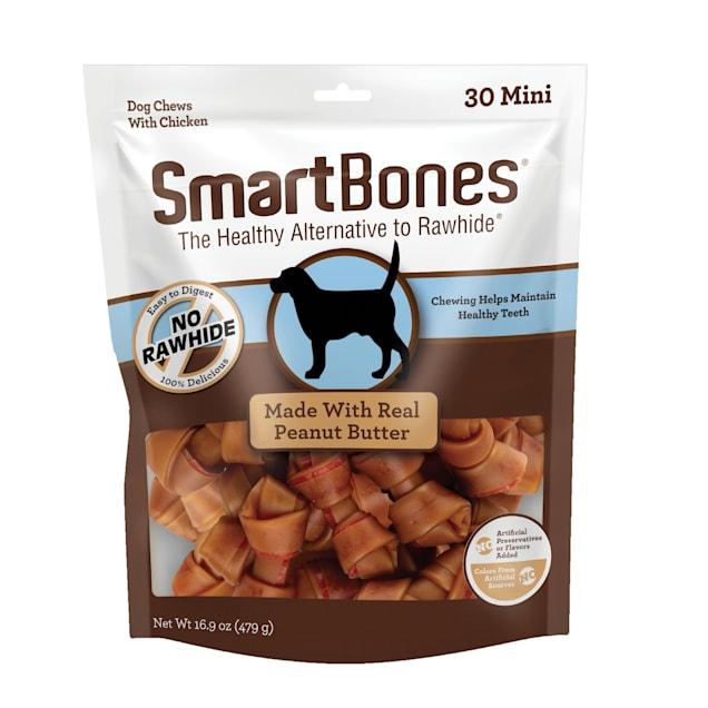 SmartBones Mini Bones Chicken & Peanut Butter No-Rawhide Dog Chews, 16.9 oz., Count of 30 - Carousel image #1
