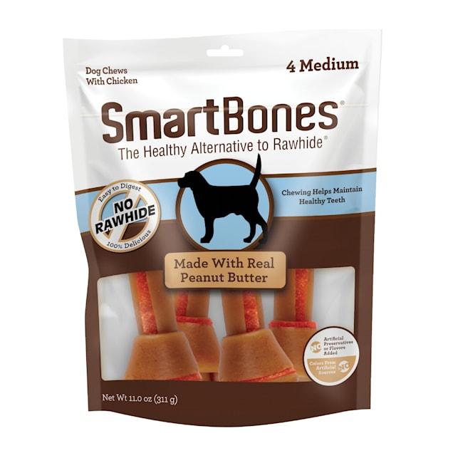 SmartBones Medium Bones Chicken & Peanut Butter No-Rawhide Dog Chews, 11 oz., Count of 4 - Carousel image #1