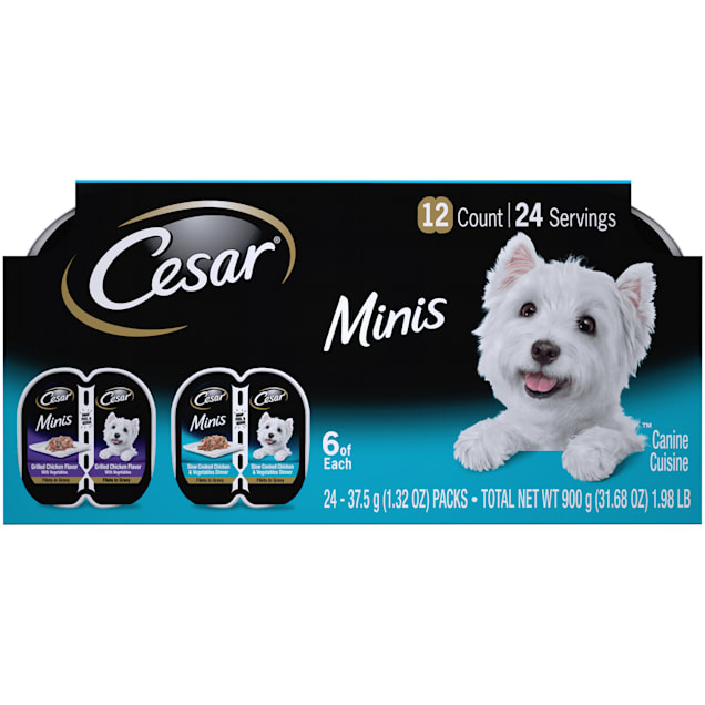 Cesar Minis Grilled and Slow Cooked Chicken & Vegetables Dinner Variety Pack Wet Dog Food, 2.64 oz., Count of 12 - Carousel image #1