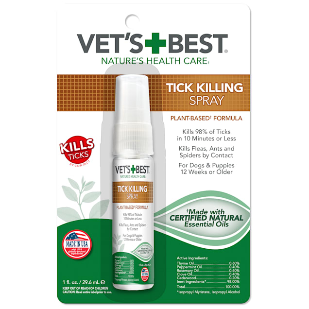 Vet's Best Tick Killing Spray Plant-Based Formula for Dogs and Puppies, 1 fl. oz. - Carousel image #1