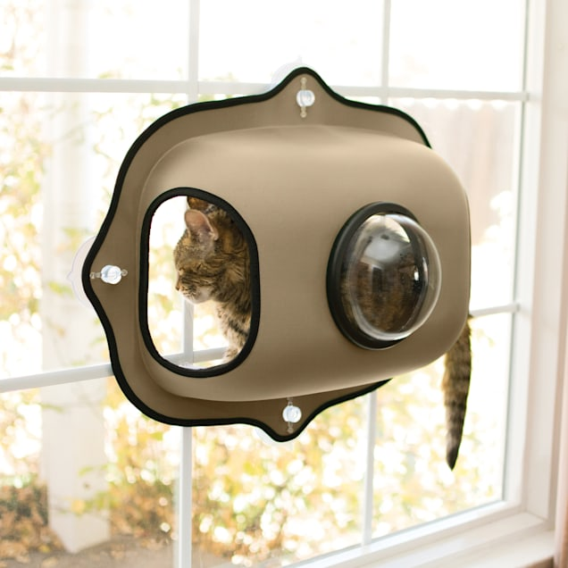 "K&H EZ Mount Tan Window Bubble Pod for Cats, 27"" L X 20"" W - Carousel image #1"