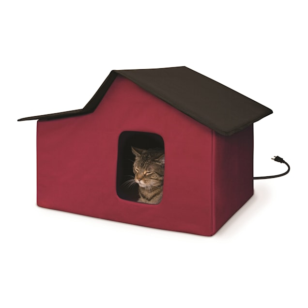 """K&H Creative Solutions Red Outdoor Heated Multi Kitty Home Barn, 21.5"""" L X 26.5"""" W X 15.5"""" H - Carousel image #1"""