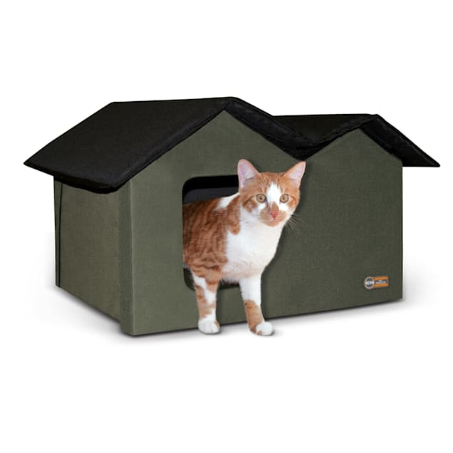 """K&H Olive/Black Outdoor Extra-Wide Kitty House, 26.5"""" L X 13.5"""" W X 21.5"""" H - Carousel image #1"""
