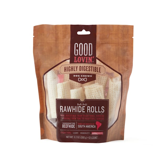 Good Lovin' Highly Digestible Mini Rawhide Rolls for Dogs, 9.2 oz., Count of 12 - Carousel image #1