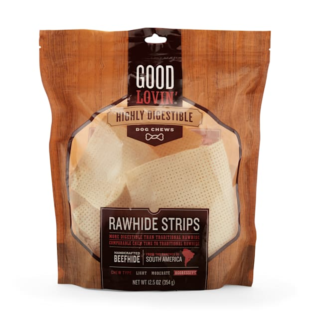 Good Lovin' Highly Digestible Rawhide Strips for Dogs, 12.5 oz. - Carousel image #1