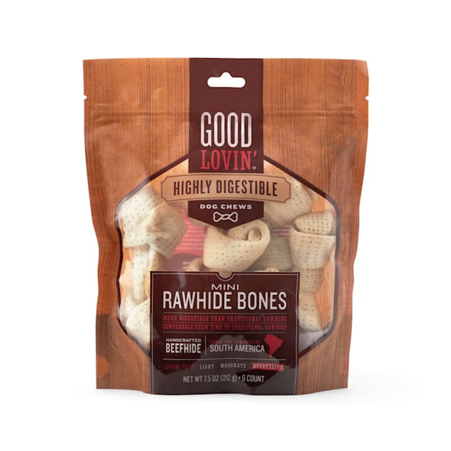 Good Lovin' Highly Digestible Mini Rawhide Bones for Dogs, 7.5 oz., Count of 6 - Carousel image #1