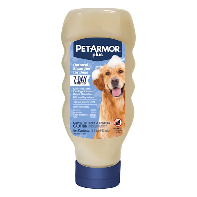 PetArmor Plus Oatmeal Flea & Tick Treatment Tropical Breeze Scent Shampoo for Dogs, 18 fl. oz. - Carousel image #1