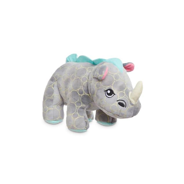 Leaps & Bounds Ruffest & Tuffest Rhino Tough Plush Dog Toy with Kevlar Stitching, Small - Carousel image #1