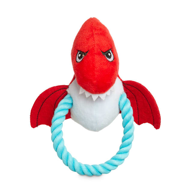 Leaps & Bounds Dinosaur Finger Puppet Plush & Rope Dog Toy in Various Styles, Small - Carousel image #1